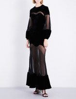 Alexander McQueen Sheer-panel fit-and-flare velvet gown