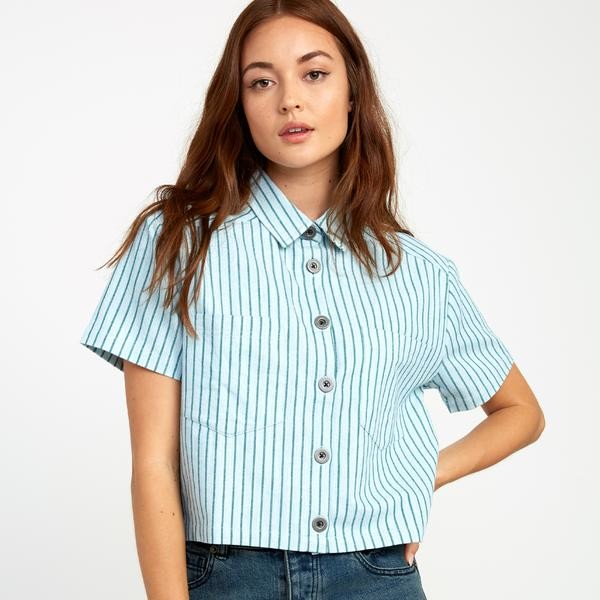 RVCA Jefferson Short Sleeve Shirt Green Stripe - L