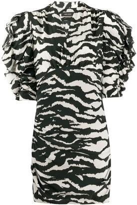 Isabel Marant zebra print ruched sleeves dress