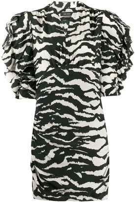 Isabel Marant Zebra Print Ruched Sleeves Dress