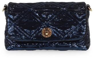 Emporio Armani Blue Black Sequins Handbag
