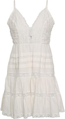 Zimmermann Pleated Lace-trimmed Swiss-dot Cotton Mini Dress