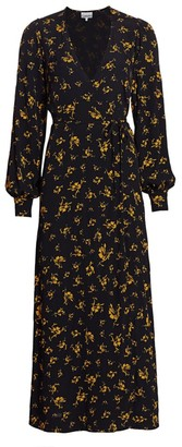 Ganni Long Floral Wrap Dress