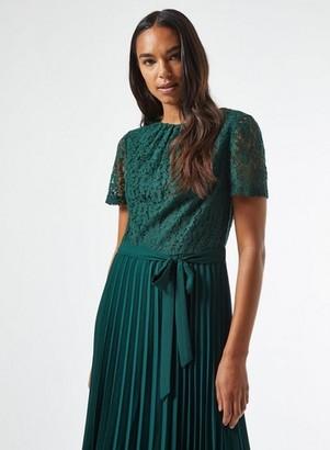 Dorothy Perkins Womens Green Lace Pleat Midi Dress, Green