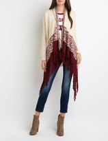 Charlotte Russe Geometric Fringed Cascade Cardigan