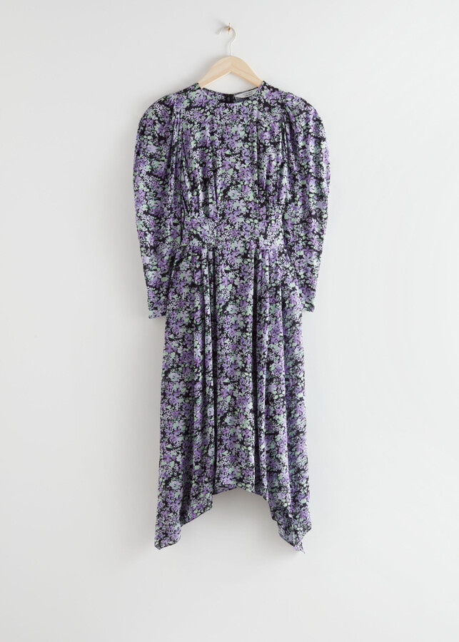 And other stories Floral Puff Sleeve Midi Dress