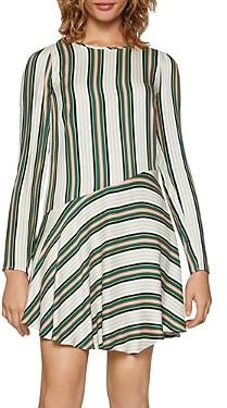 BCBGeneration Striped Asymmetric Drop-Waist Dress