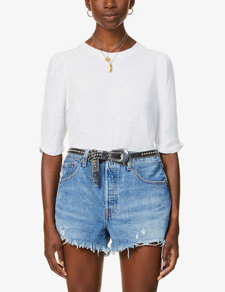 Free People Puffed cotton and linen-blend top