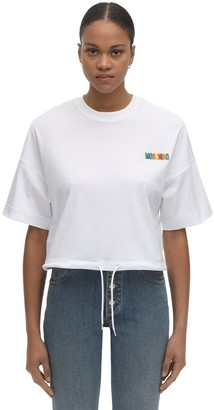 Moschino Logo Cotton Jersey Crop T-Shirt
