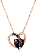 LeVian Le Vian Raspberry Rhodolite (2 ct. t.w.), Smoky Quartz (1/10 ct. t.w.) and Diamond Accent Heart Necklace in 14k Rose Gold