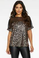 Quiz Black and Rose Gold Sequin Animal Print Top