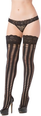Seven Til Midnight Women's Pothole Silicone Lace Top Thigh Highs