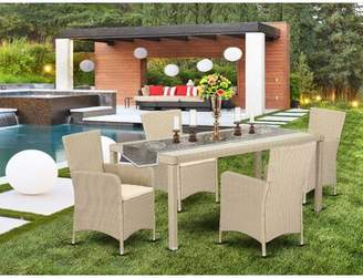 Wrought Studio Peaslee Outdoor Backyard 5 Piece Dining Set with Cushions Wrought Studio