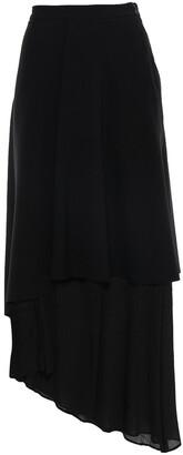 Chalayan Layered Two-tone Satin-crepe And Crepon Midi Skirt