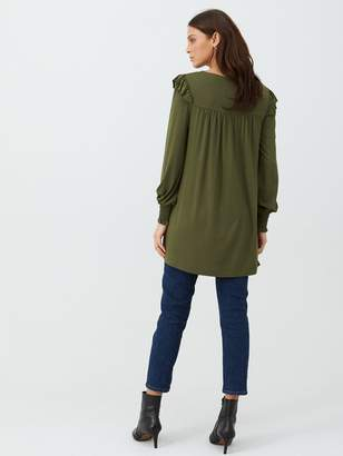 Very Frill Sleeve Tunic - Olive