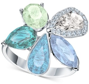 Swarovski Silver-Tone Crystal Flower Statement Ring