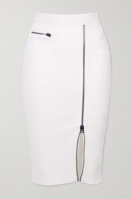 Tom Ford Ribbed Wool-blend Midi Skirt - White