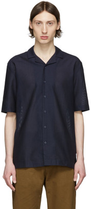 Sunspel Navy Mesh Camp Collar Shirt