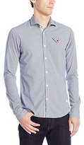 Scotch & Soda Men's Long Sleeve Shirt with Special Contrast Fold At Chestpocket