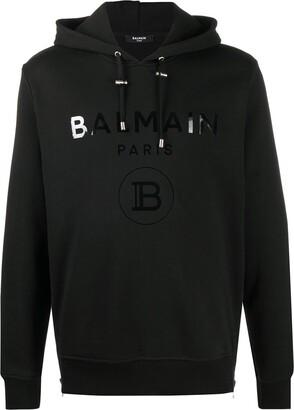 Balmain Metallic Logo Print Side Zip Hoodie