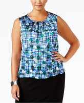 Nine West Plus Size Pleated Printed Shell
