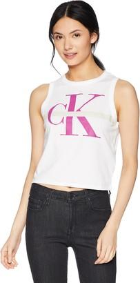Calvin Klein Jeans Women's Monogram Logo Muscle Cropped Tank