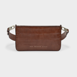 CHYLAK Underarm Bag In Brown Croc Embossed Leather