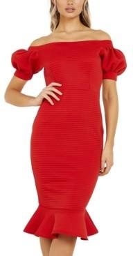 Quiz Off-The-Shoulder Puff-Sleeve Dress