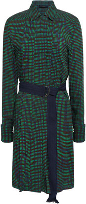 Piazza Sempione Belted Gingham Crepe Dress