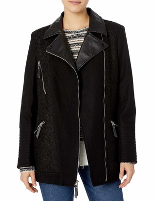 Kensie Women's Elongated Asymetrical Zip Moto Inspired Coat with Pu Detail