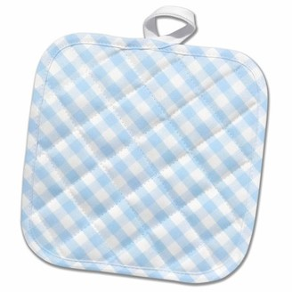 3drose 3dRose Baby Blue and white Gingham pattern - diagonal checks rustic checkered retro country kitchen dining - Pot Holder, 8 by 8-inch