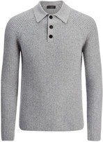 Cardigan Cashmere Polo Top In Marble
