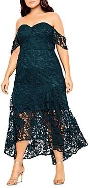 City Chic Plus Off-the-Shoulder Lace Dress