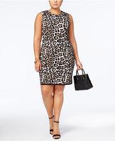 MICHAEL Michael Kors Size Textured Animal-Print Dress