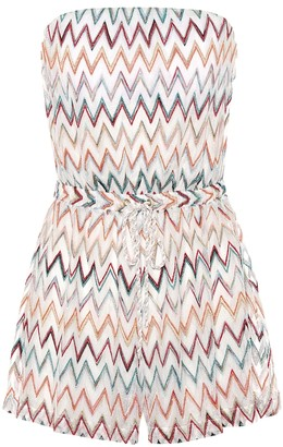 Missoni Mare Strapless chevron-knit playsuit