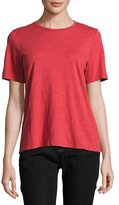 Eileen Fisher Short-Sleeve Slubby Organic Jersey Top, White