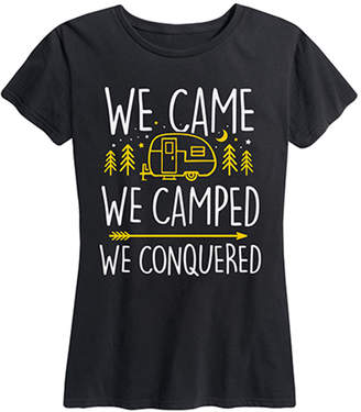 Instant Message Women's Women's Tee Shirts BLACK - Black 'We Came We Camped' Relaxed-Fit Tee - Women