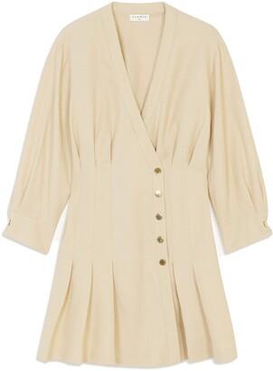 Sandro Pleated Long Sleeve Dress