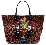 Dolce & Gabbana DGFamily Embellished Leopard-Print Tote