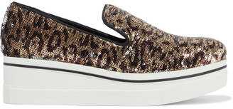 Stella McCartney Binx Star Leopard-print Sequined Woven Platform Slip-on Sneakers