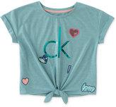 Calvin Klein Graphic & Patch Tie-Front T-Shirt, Big Girls (7-16)