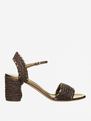 Casadei Sandal In Woven Leather