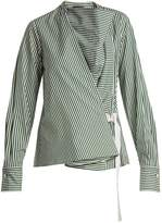 Joseph Arran striped cowl-neck wrap shirt