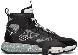 Diesel Black and Grey S-Padola Mid Trek Sneakers