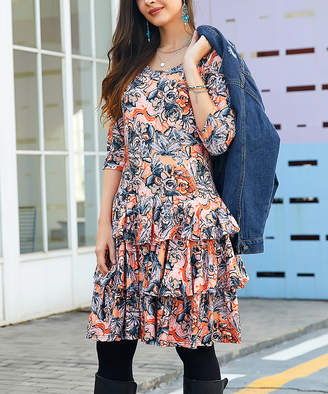 Reborn Collection Women's Casual Dresses Orange - Orange & Blue Floral Tiered Dress - Women & Plus