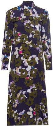 Dorothee Schumacher Floral Graphics Dress in Green Flowers on Blue