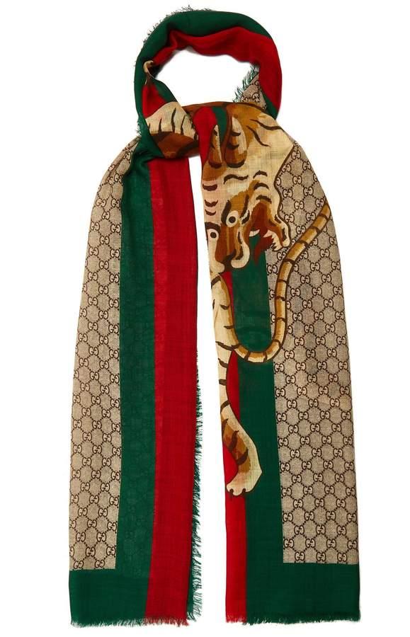Gucci GG Supreme and Angry Tiger-print scarf