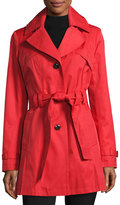 Via Spiga Water-Resistant Belted Trench Coat, Red
