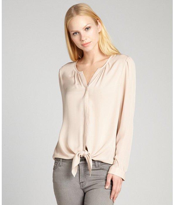 Joie pale blush silk button-front tie waist v-neck blouse