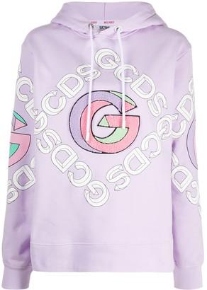 GCDS College logo-print hoodie